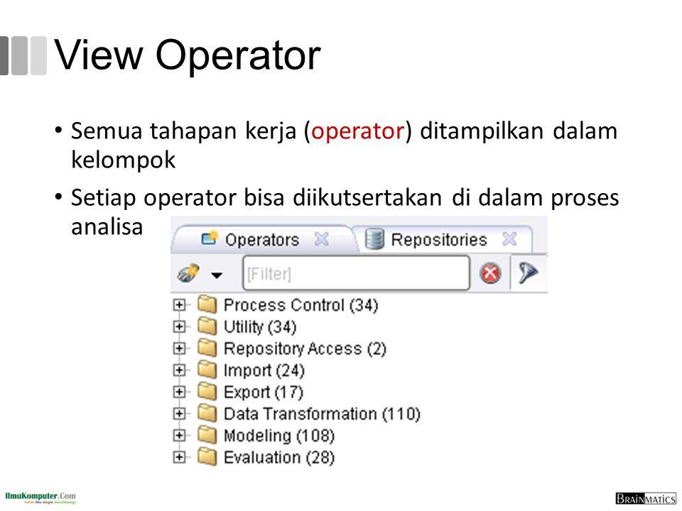 View Operator Semua tahapan kerja (operator) ditampilkan dalam kelompok Setiap operator bisa diikutsertakan di dalam proses analisa