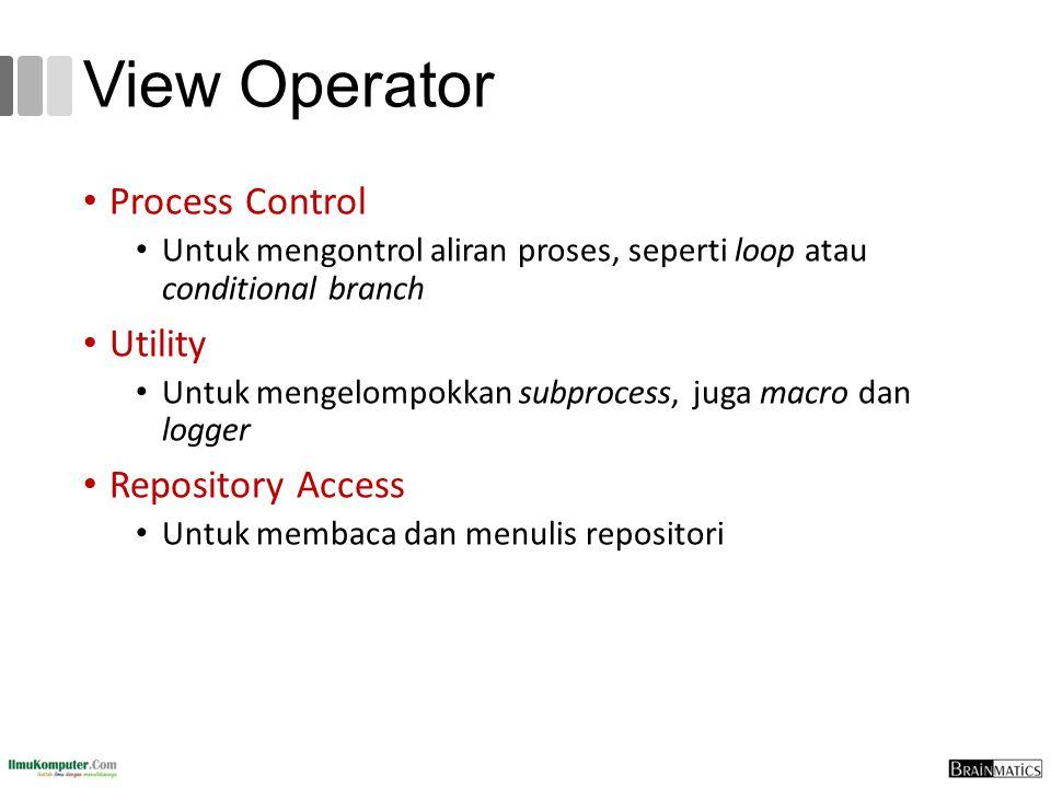 View Operator Process Control Untuk mengontrol aliran proses, seperti loop atau conditional branch Utility Untuk mengelompokkan subprocess, juga macro