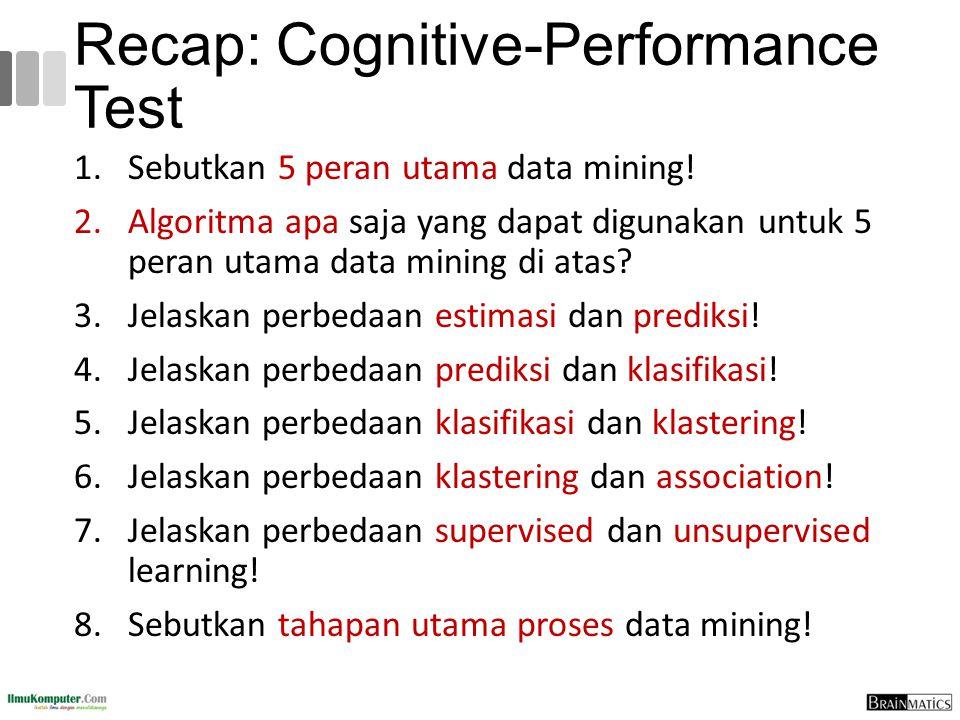 Recap: Cognitive-Performance Test 1.Sebutkan 5 peran utama data mining! 2.Algoritma apa saja yang dapat digunakan untuk 5 peran utama data mining di a