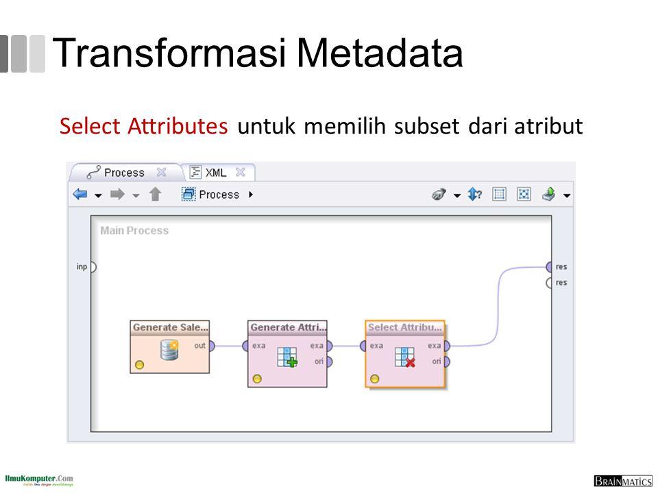 Select Attributes untuk memilih subset dari atribut