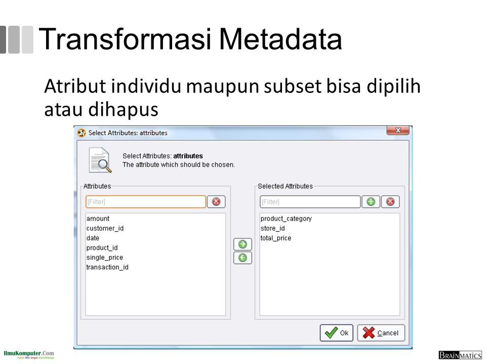Transformasi Metadata Atribut individu maupun subset bisa dipilih atau dihapus