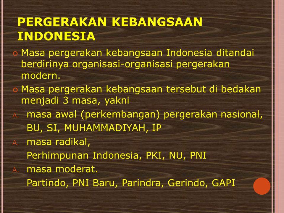PERGERAKAN KEBANGSAAN INDONESIA Masa pergerakan kebangsaan Indonesia ditandai berdirinya organisasi-organisasi pergerakan modern. Masa pergerakan keba