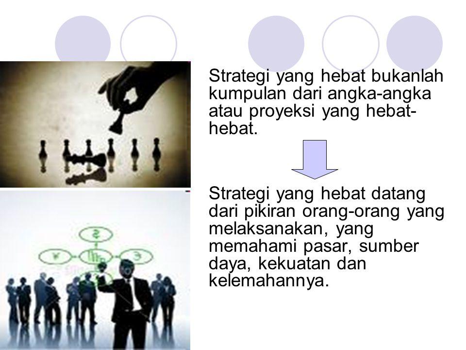Tingkatan strategi sampai dengan prosedur kerja Strategi korporat (corporate strategy) Strategi unit bisnis (business unit strategy) Strategi fungsional (functional strategy) Strategi sub fungsional (sub-functional strategy) Sistem dan prosedur kerja (SOP) Awal assesment Target