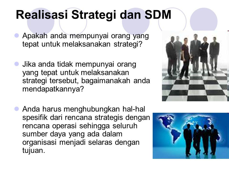 Realisasi Strategi dan SDM Apakah anda mempunyai orang yang tepat untuk melaksanakan strategi? Jika anda tidak mempunyai orang yang tepat untuk melaks
