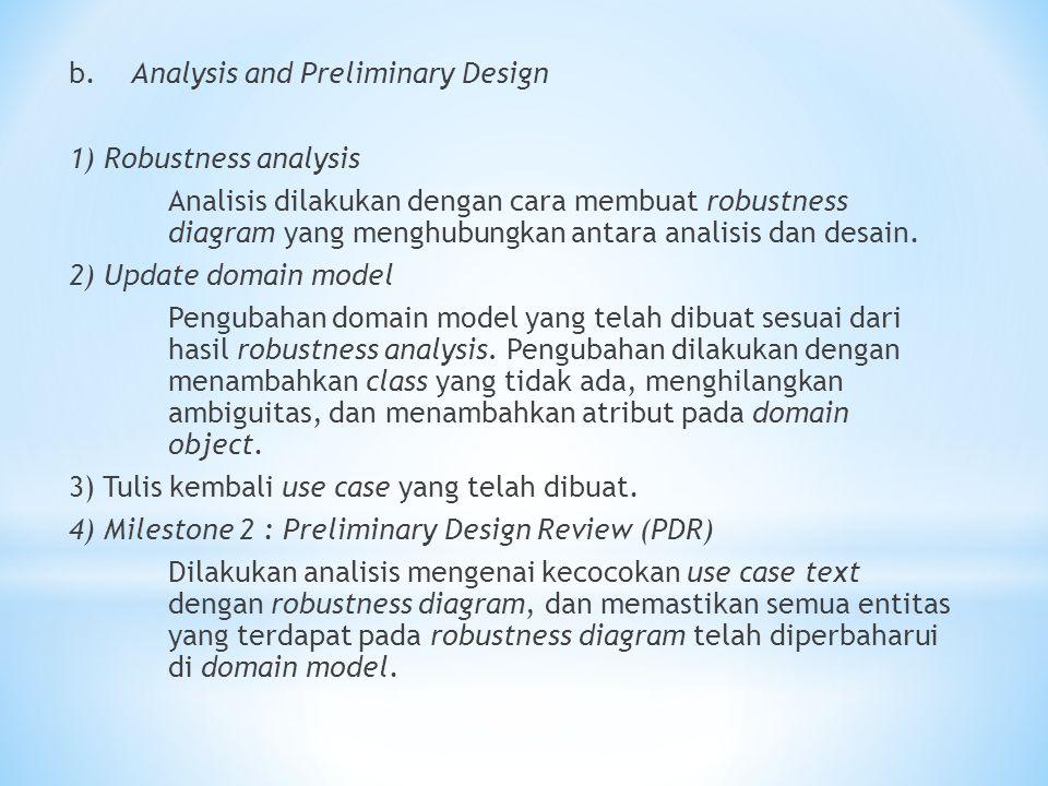 b. Analysis and Preliminary Design 1) Robustness analysis Analisis dilakukan dengan cara membuat robustness diagram yang menghubungkan antara analisis