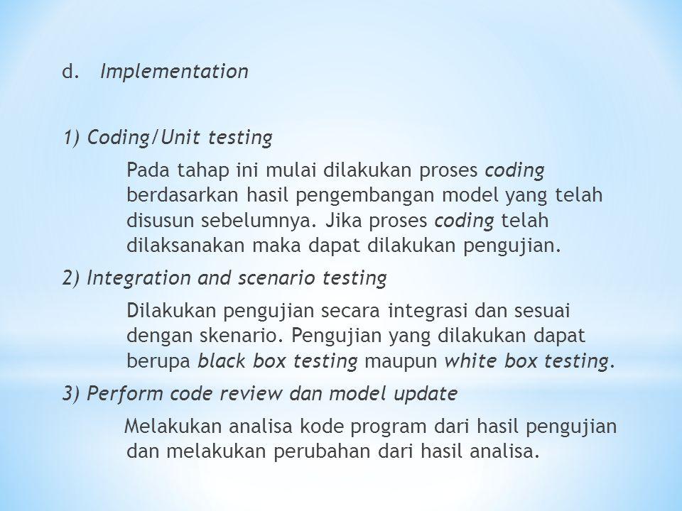 d. Implementation 1) Coding/Unit testing Pada tahap ini mulai dilakukan proses coding berdasarkan hasil pengembangan model yang telah disusun sebelumn