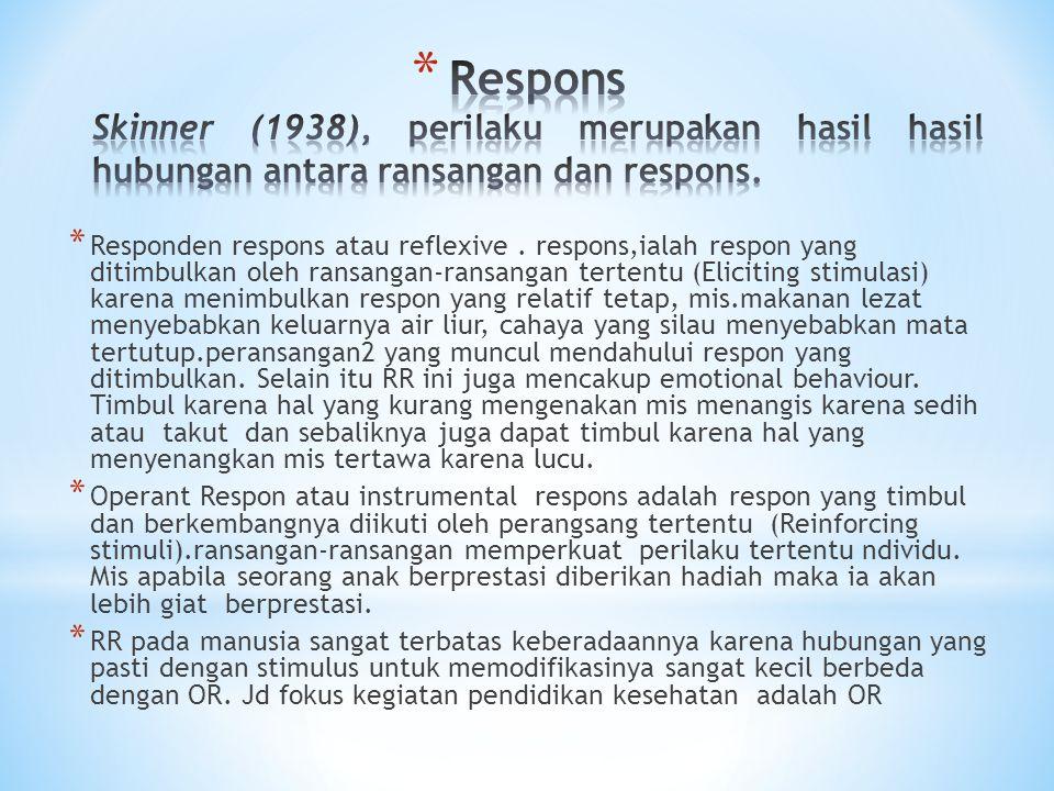 * Responden respons atau reflexive. respons,ialah respon yang ditimbulkan oleh ransangan-ransangan tertentu (Eliciting stimulasi) karena menimbulkan r
