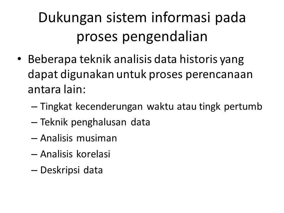 Dukungan sistem informasi pada proses pengendalian Beberapa teknik analisis data historis yang dapat digunakan untuk proses perencanaan antara lain: –
