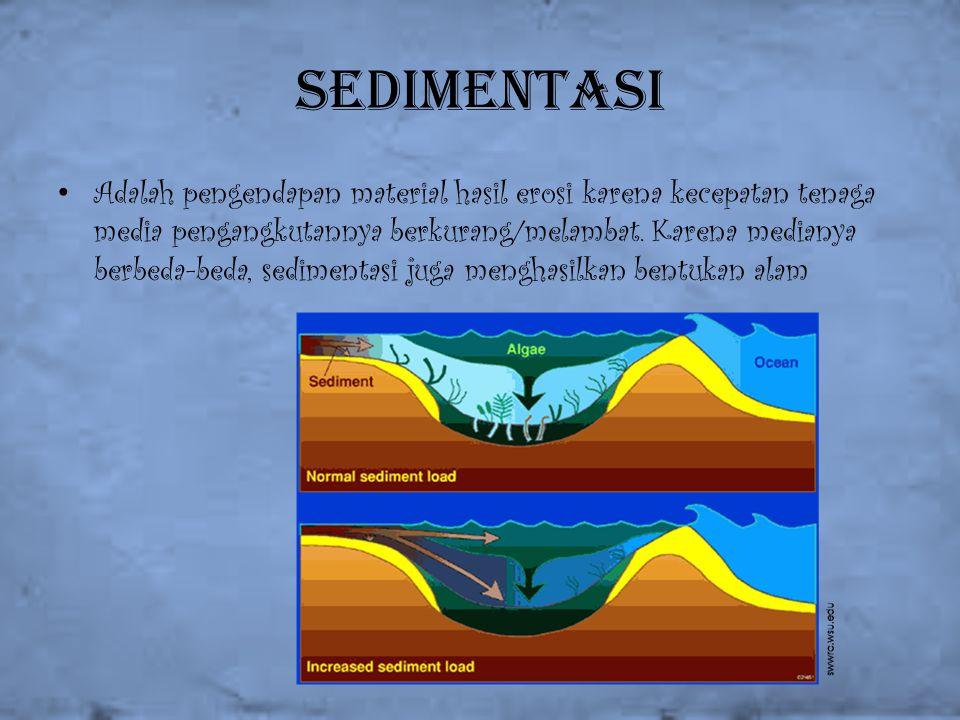 Sedimentasi Adalah pengendapan material hasil erosi karena kecepatan tenaga media pengangkutannya berkurang/melambat. Karena medianya berbeda-beda, se