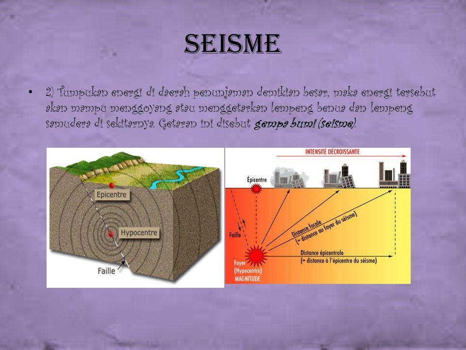 Seisme 2) Tumpukan energi di daerah penunjaman demikian besar, maka energi tersebut akan mampu menggoyang atau menggetarkan lempeng benua dan lempeng