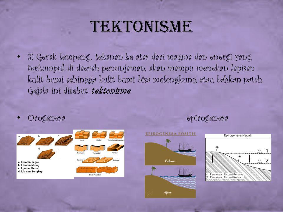 Tektonisme 3) Gerak lempeng, tekanan ke atas dari magma dan energi yang terkumpul di daerah penunjaman, akan mampu menekan lapisan kulit bumi sehingga