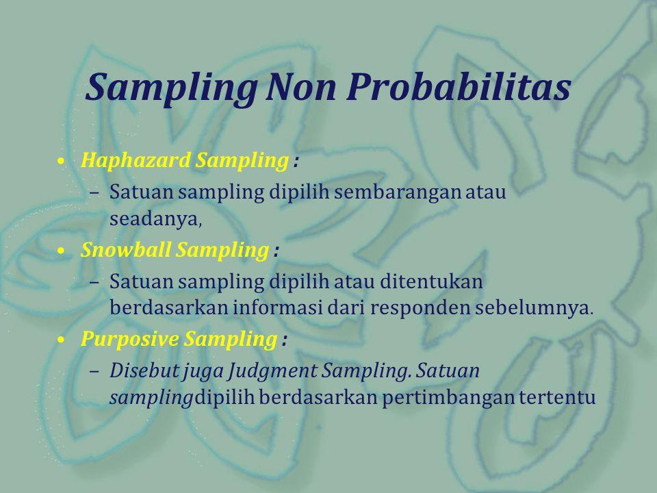 Sampling Non Probabilitas Haphazard Sampling : –Satuan sampling dipilih sembarangan atau seadanya, Snowball Sampling : –Satuan sampling dipilih atau d