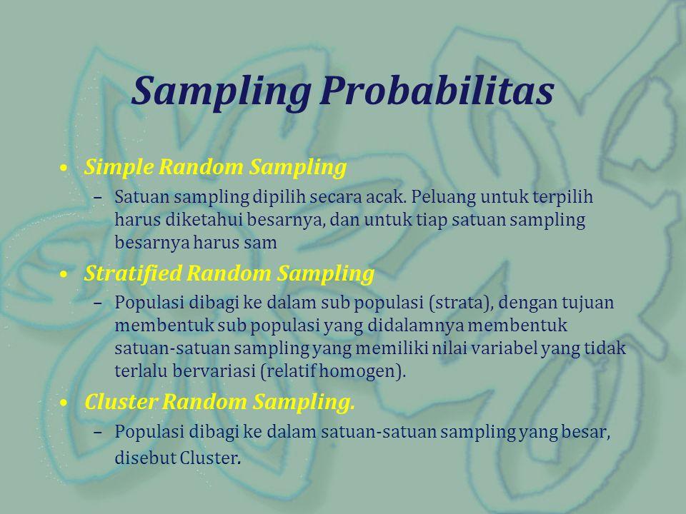 Simple Random Sampling –Satuan sampling dipilih secara acak. Peluang untuk terpilih harus diketahui besarnya, dan untuk tiap satuan sampling besarnya
