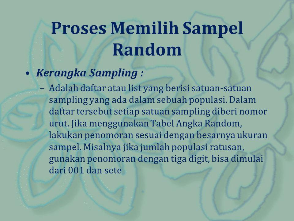 Proses Memilih Sampel Random Kerangka Sampling : –Adalah daftar atau list yang berisi satuan-satuan sampling yang ada dalam sebuah populasi. Dalam daf