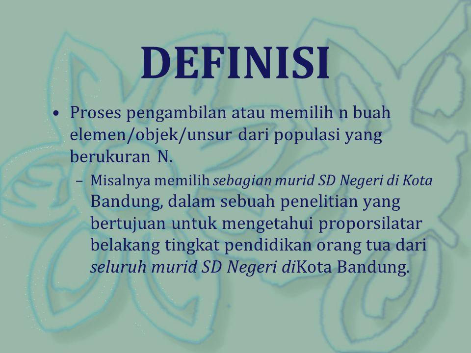 DEFINISI Proses pengambilan atau memilih n buah elemen/objek/unsur dari populasi yang berukuran N. –Misalnya memilih sebagian murid SD Negeri di Kota