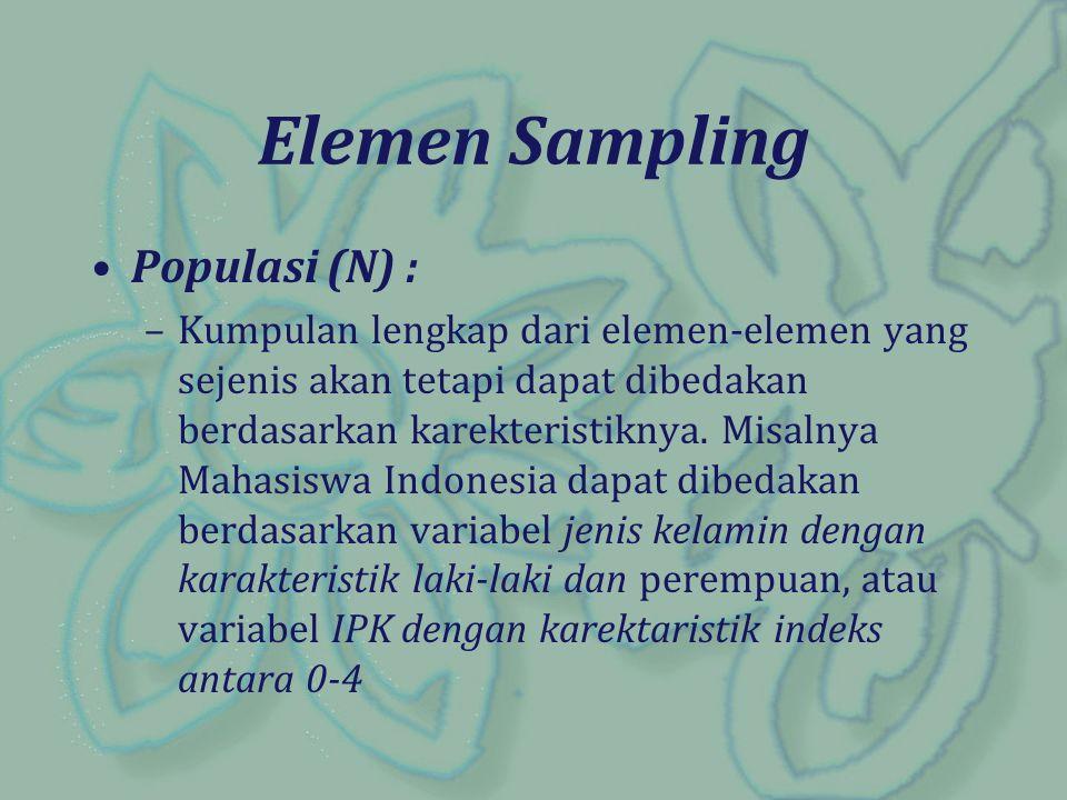 Elemen Sampling Populasi (N) : –Kumpulan lengkap dari elemen-elemen yang sejenis akan tetapi dapat dibedakan berdasarkan karekteristiknya. Misalnya Ma