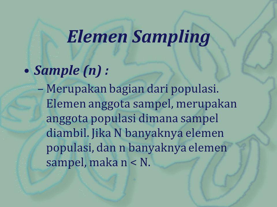 Kerangka Sampel : –Adalah daftar yang memuat seluruh elemen/anggota populasi, sebagai dasar untuk penarikan sampel random Kerangka Sampel : –Adalah daftar yang memuat seluruh elemen/anggota populasi, sebagai dasar untuk penarikan sampel random.