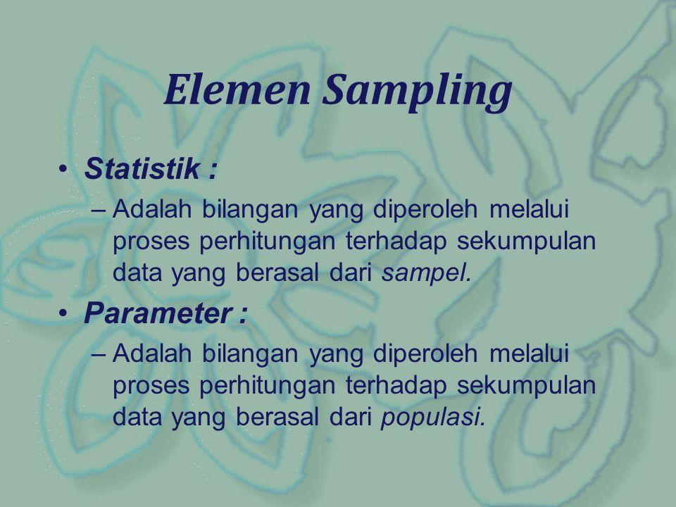 Statistik : –Adalah bilangan yang diperoleh melalui proses perhitungan terhadap sekumpulan data yang berasal dari sampel. Parameter : –Adalah bilangan