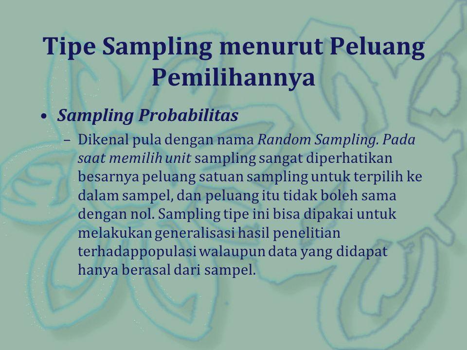Sampling Probabilitas –Dikenal pula dengan nama Random Sampling. Pada saat memilih unit sampling sangat diperhatikan besarnya peluang satuan sampling