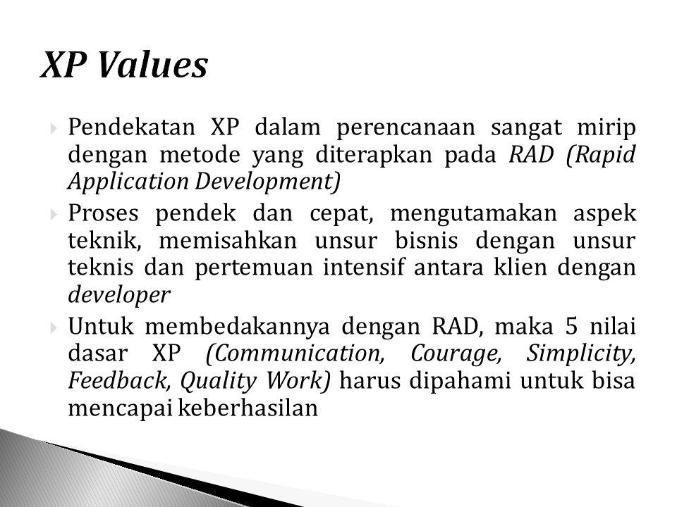 Pendekatan XP dalam perencanaan sangat mirip dengan metode yang diterapkan pada RAD (Rapid Application Development)  Proses pendek dan cepat, mengutamakan aspek teknik, memisahkan unsur bisnis dengan unsur teknis dan pertemuan intensif antara klien dengan developer  Untuk membedakannya dengan RAD, maka 5 nilai dasar XP (Communication, Courage, Simplicity, Feedback, Quality Work) harus dipahami untuk bisa mencapai keberhasilan