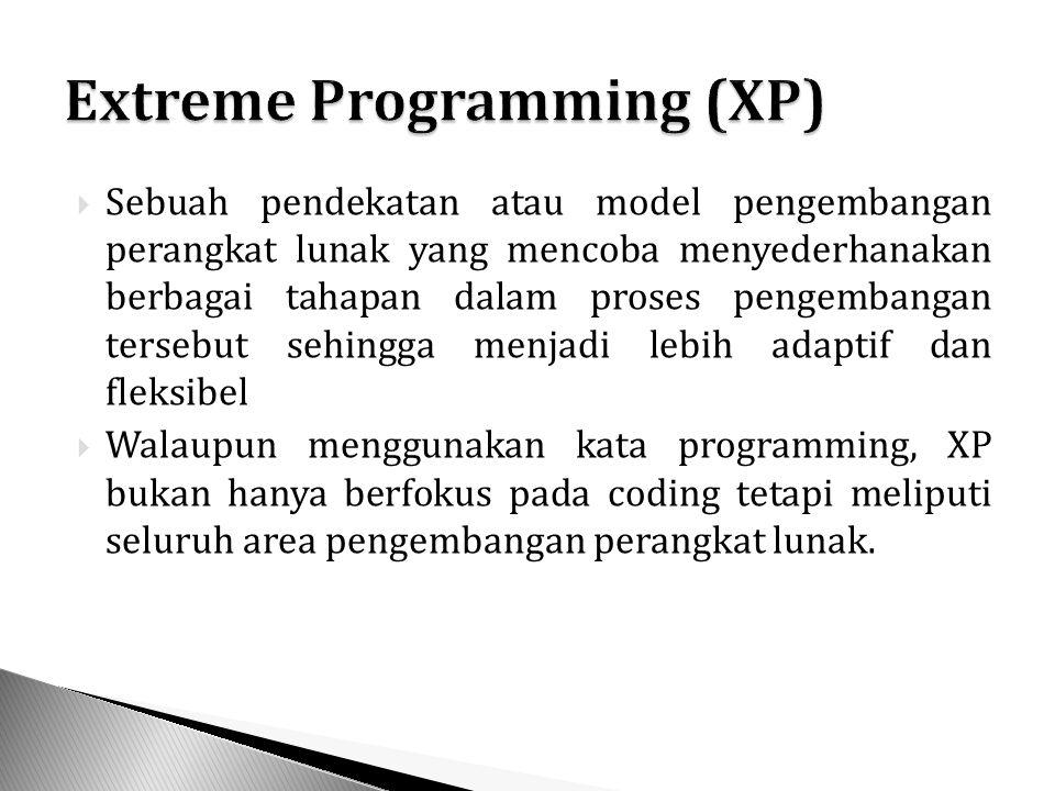  Sebuah pendekatan atau model pengembangan perangkat lunak yang mencoba menyederhanakan berbagai tahapan dalam proses pengembangan tersebut sehingga menjadi lebih adaptif dan fleksibel  Walaupun menggunakan kata programming, XP bukan hanya berfokus pada coding tetapi meliputi seluruh area pengembangan perangkat lunak.