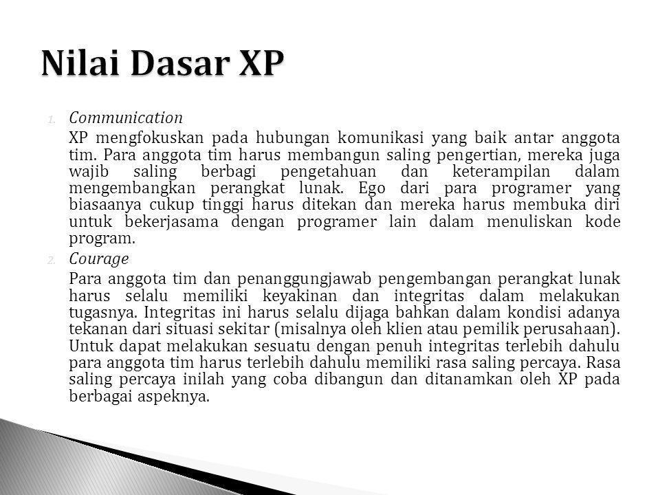 1. Communication XP mengfokuskan pada hubungan komunikasi yang baik antar anggota tim.