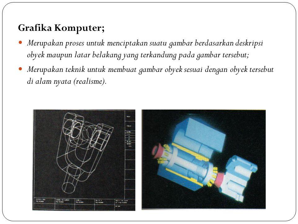Grafika Komputer; Merupakan proses untuk menciptakan suatu gambar berdasarkan deskripsi obyek maupun latar belakang yang terkandung pada gambar terseb