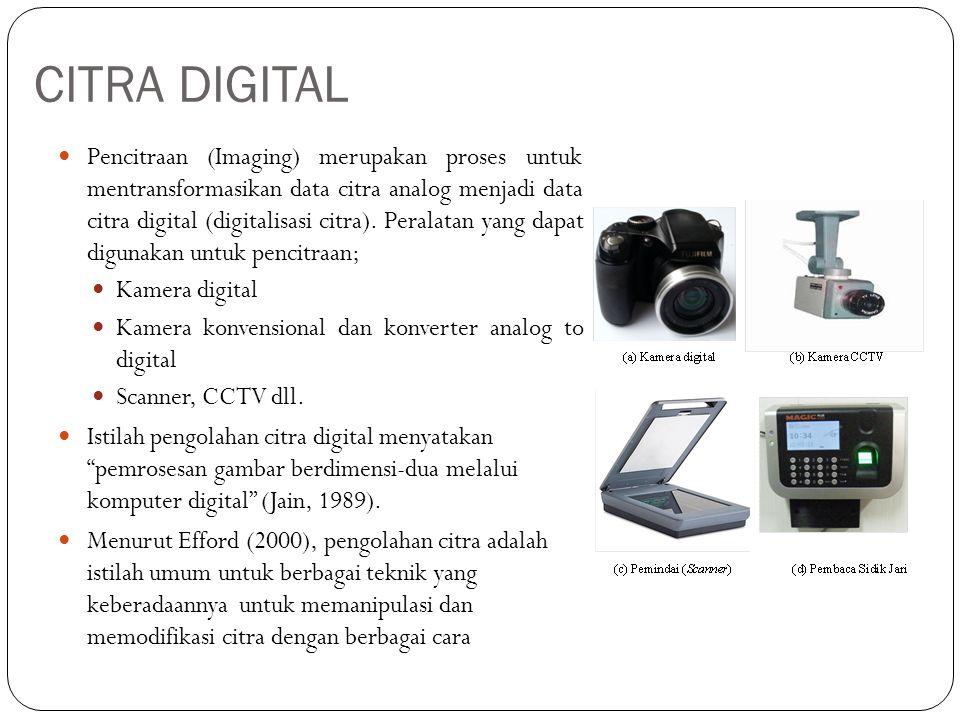 CITRA DIGITAL Pencitraan (Imaging) merupakan proses untuk mentransformasikan data citra analog menjadi data citra digital (digitalisasi citra). Perala