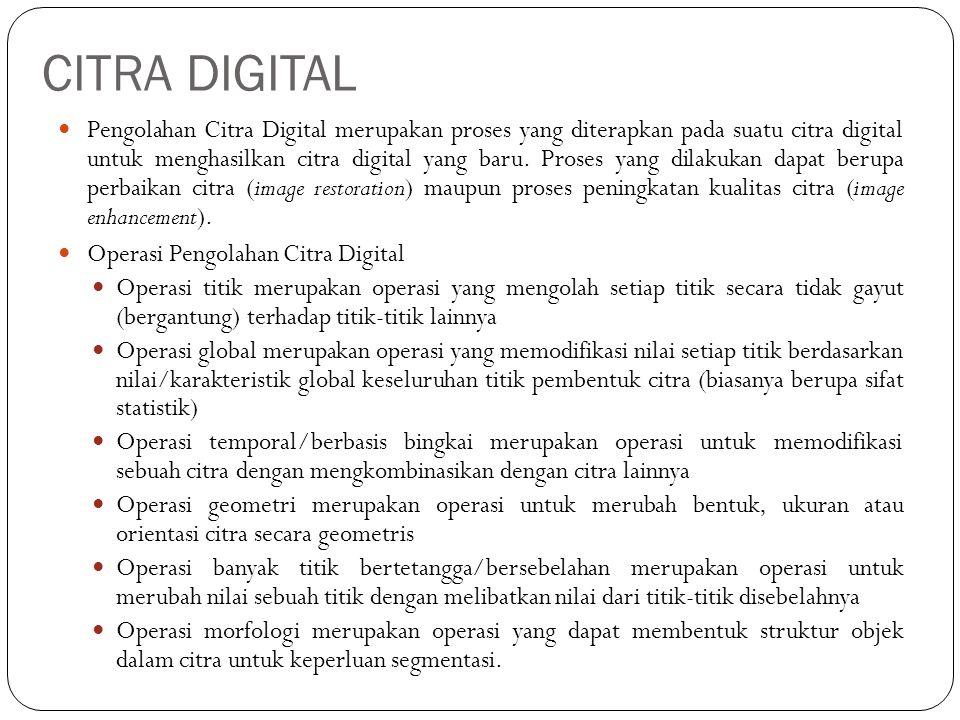 CITRA DIGITAL Pengolahan Citra Digital merupakan proses yang diterapkan pada suatu citra digital untuk menghasilkan citra digital yang baru. Proses ya