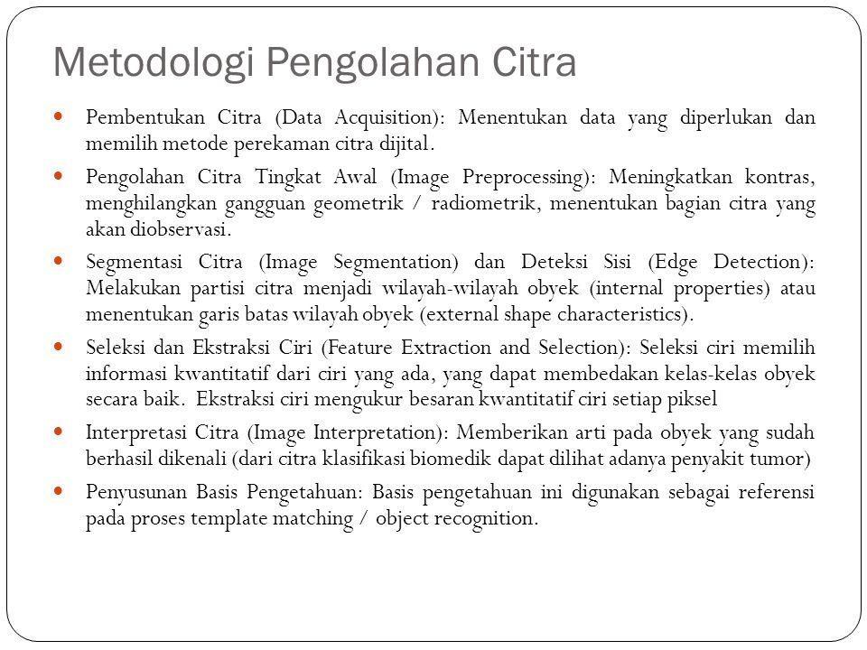 Metodologi Pengolahan Citra Pembentukan Citra (Data Acquisition): Menentukan data yang diperlukan dan memilih metode perekaman citra dijital. Pengolah