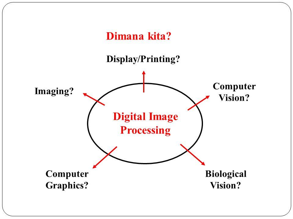 Dimana kita? Imaging? Computer Vision? Display/Printing? Digital Image Processing Computer Graphics? Biological Vision?