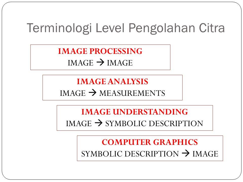 Terminologi Level Pengolahan Citra IMAGE PROCESSING IMAGE  IMAGE IMAGE ANALYSIS IMAGE  MEASUREMENTS IMAGE UNDERSTANDING IMAGE  SYMBOLIC DESCRIPTION