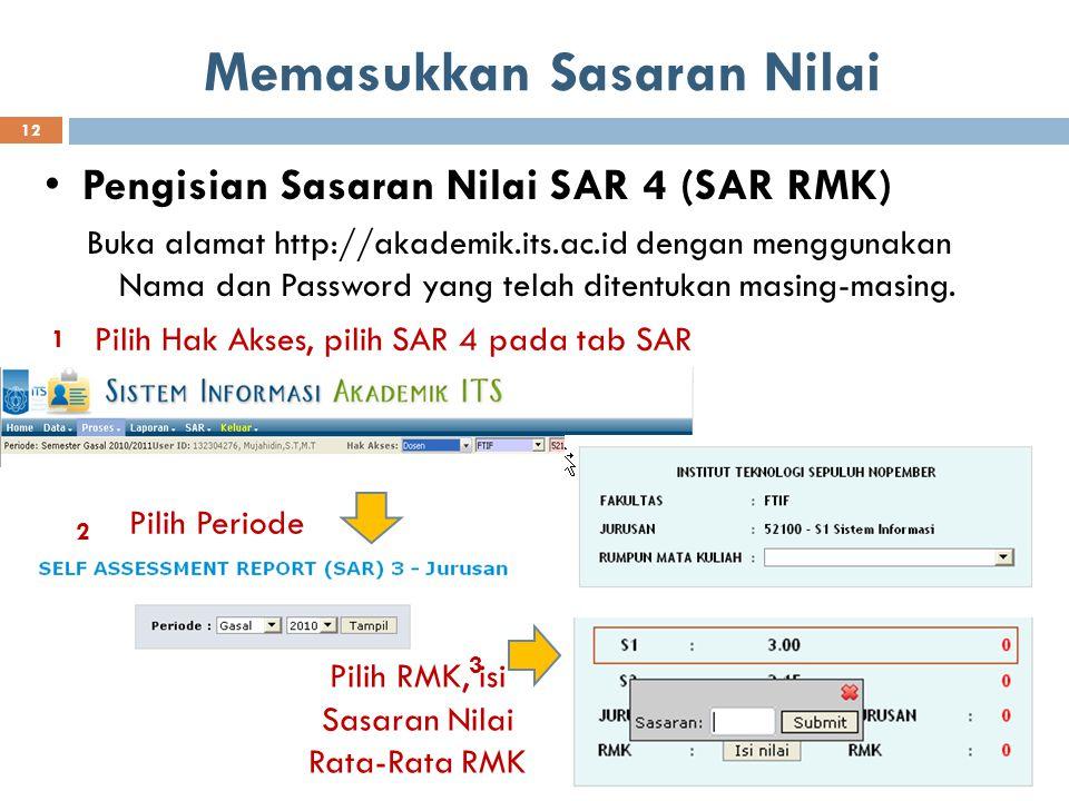 Memasukkan Sasaran Nilai Pengisian Sasaran Nilai SAR 4 (SAR RMK) Buka alamat http://akademik.its.ac.id dengan menggunakan Nama dan Password yang telah