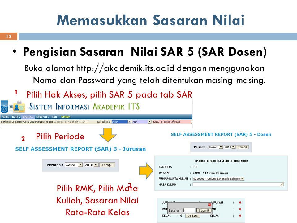Memasukkan Sasaran Nilai Pengisian Sasaran Nilai SAR 5 (SAR Dosen) Buka alamat http://akademik.its.ac.id dengan menggunakan Nama dan Password yang tel