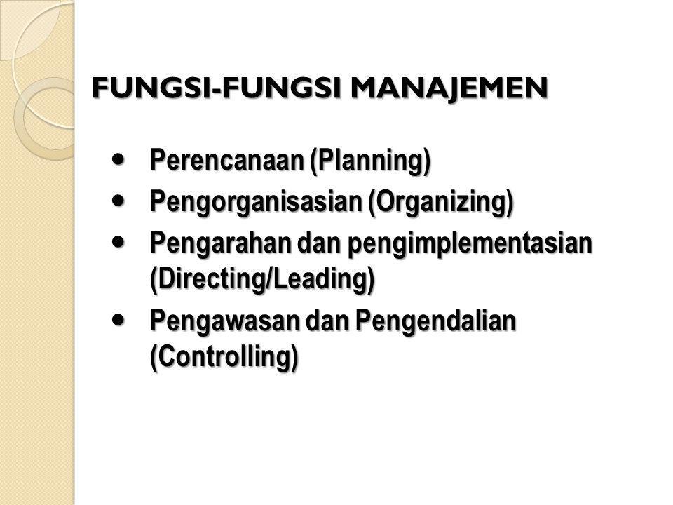 FUNGSI-FUNGSI MANAJEMEN Perencanaan (Planning) Perencanaan (Planning) Pengorganisasian (Organizing) Pengorganisasian (Organizing) Pengarahan dan pengi