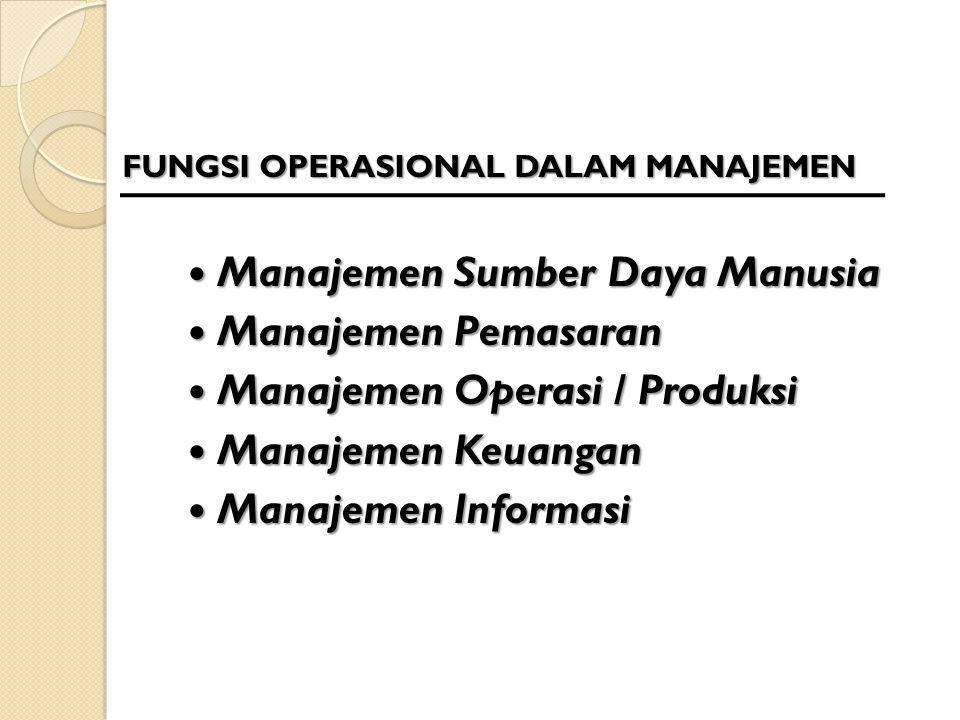 FUNGSI OPERASIONAL DALAM MANAJEMEN Manajemen Sumber Daya Manusia Manajemen Sumber Daya Manusia Manajemen Pemasaran Manajemen Pemasaran Manajemen Opera