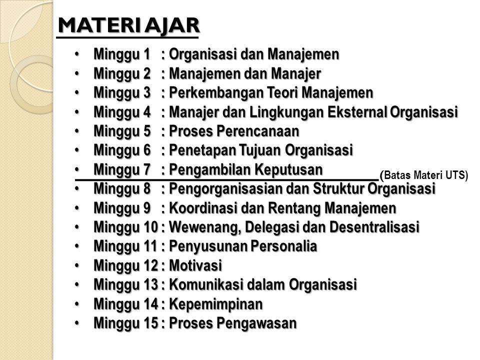 MATERI AJAR Minggu 1: Organisasi dan Manajemen Minggu 1: Organisasi dan Manajemen Minggu 2: Manajemen dan Manajer Minggu 2: Manajemen dan Manajer Ming