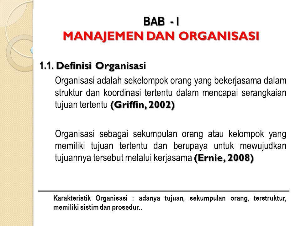 BAB - I MANAJEMEN DAN ORGANISASI 1.1.Definisi Organisa 1.1.