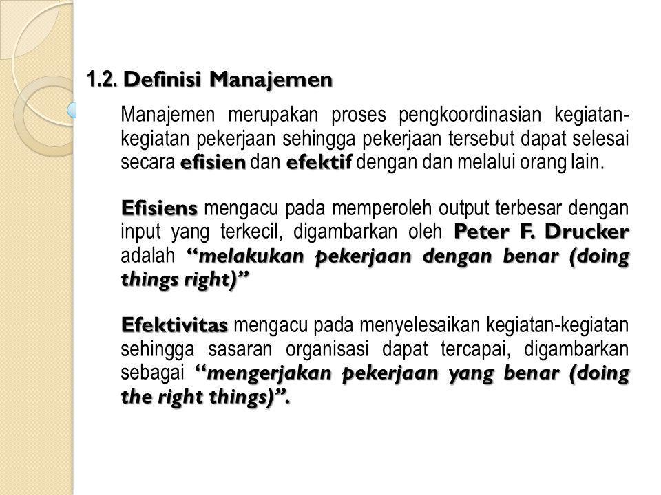 1.2. Definisi Manajemen efisienefekti Manajemen merupakan proses pengkoordinasian kegiatan- kegiatan pekerjaan sehingga pekerjaan tersebut dapat seles