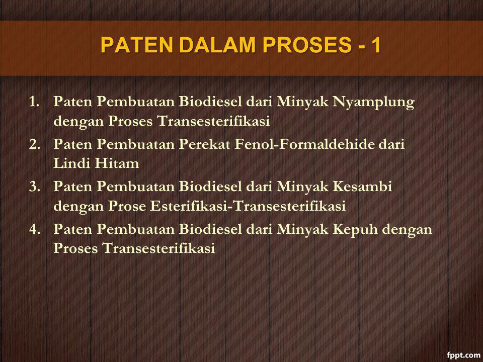 PATEN DALAM PROSES - 1 1.Paten Pembuatan Biodiesel dari Minyak Nyamplung dengan Proses Transesterifikasi 2.Paten Pembuatan Perekat Fenol-Formaldehide