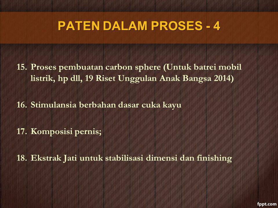 PATEN DALAM PROSES - 4 15.Proses pembuatan carbon sphere (Untuk batrei mobil listrik, hp dll, 19 Riset Unggulan Anak Bangsa 2014) 16.Stimulansia berba