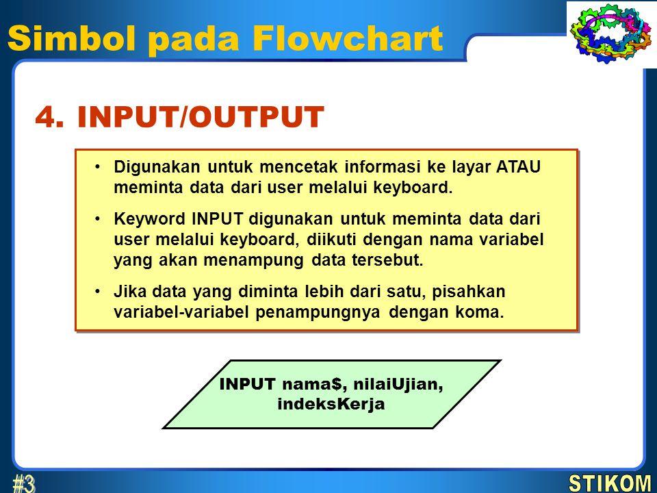 Simbol pada Flowchart Digunakan untuk mencetak informasi ke layar ATAU meminta data dari user melalui keyboard. Keyword INPUT digunakan untuk meminta