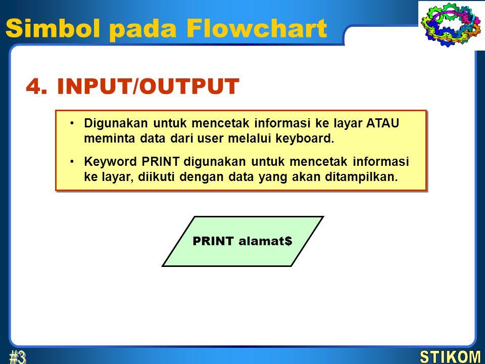 Simbol pada Flowchart Digunakan untuk mencetak informasi ke layar ATAU meminta data dari user melalui keyboard. Keyword PRINT digunakan untuk mencetak