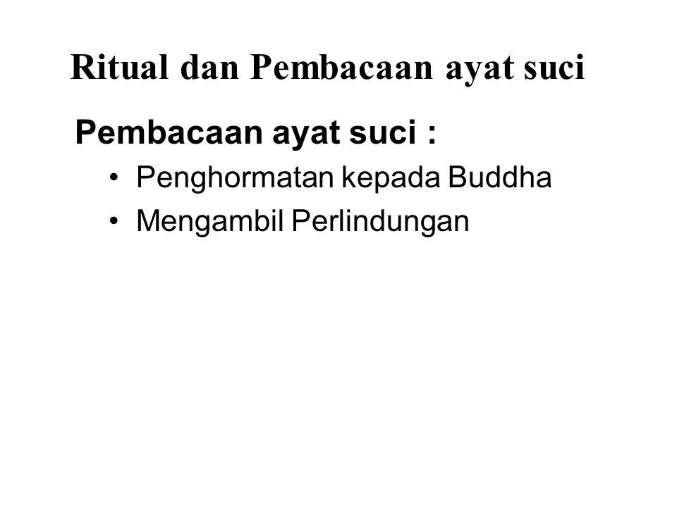 Ritual dan Pembacaan ayat suci Pembacaan ayat suci : Penghormatan kepada Buddha Mengambil Perlindungan Lima Sila Recollection of the qualities of the