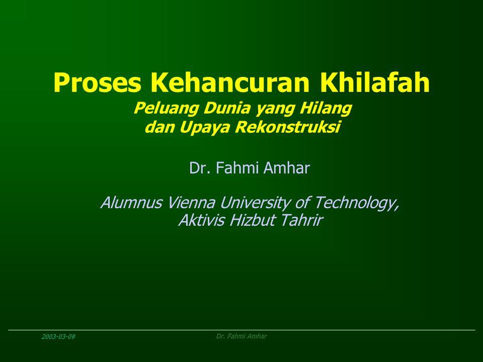 2003-03-09Dr. Fahmi Amhar Proses Kehancuran Khilafah Peluang Dunia yang Hilang dan Upaya Rekonstruksi Dr. Fahmi Amhar Alumnus Vienna University of Tec