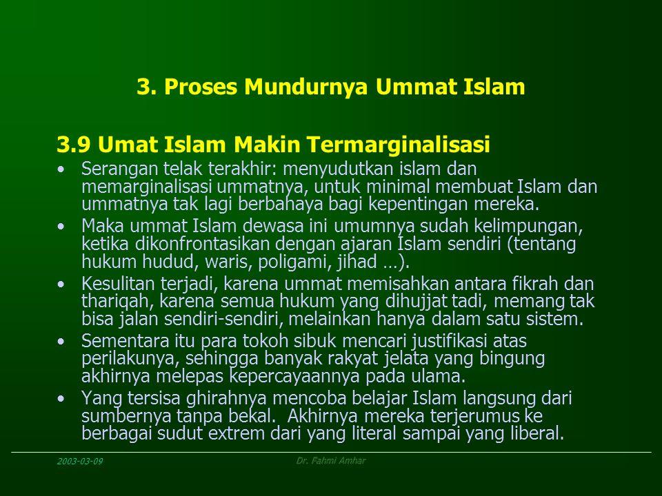 2003-03-09Dr. Fahmi Amhar 3. Proses Mundurnya Ummat Islam 3.9 Umat Islam Makin Termarginalisasi Serangan telak terakhir: menyudutkan islam dan memargi