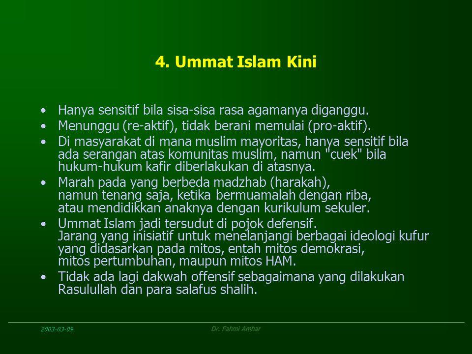 2003-03-09Dr. Fahmi Amhar 4. Ummat Islam Kini Hanya sensitif bila sisa-sisa rasa agamanya diganggu. Menunggu (re-aktif), tidak berani memulai (pro-akt