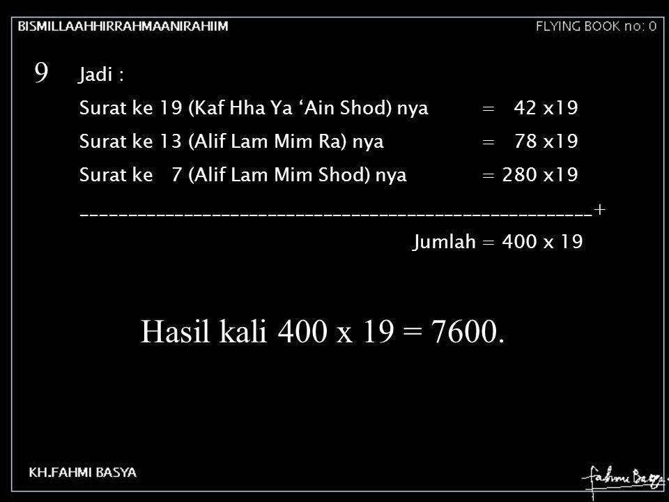 Jadi : Surat ke 19 (Kaf Hha Ya 'Ain Shod) nya= 42 x19 Surat ke 13 (Alif Lam Mim Ra) nya= 78 x19 Surat ke 7 (Alif Lam Mim Shod) nya= 280 x19 __________