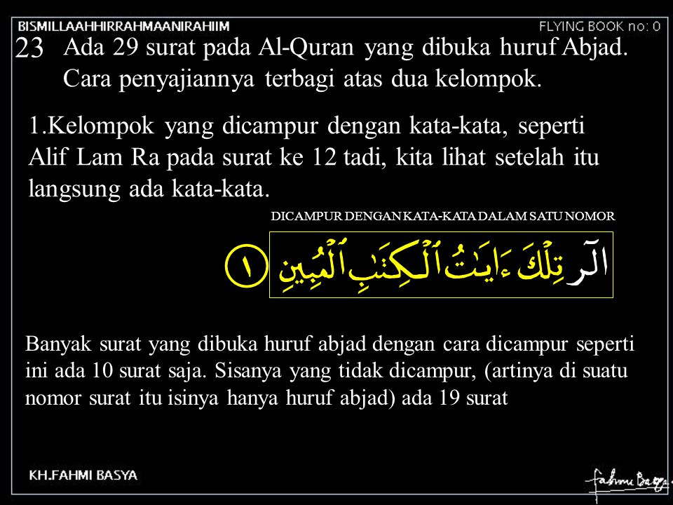23 Ada 29 surat pada Al-Quran yang dibuka huruf Abjad. Cara penyajiannya terbagi atas dua kelompok. 1.Kelompok yang dicampur dengan kata-kata, seperti