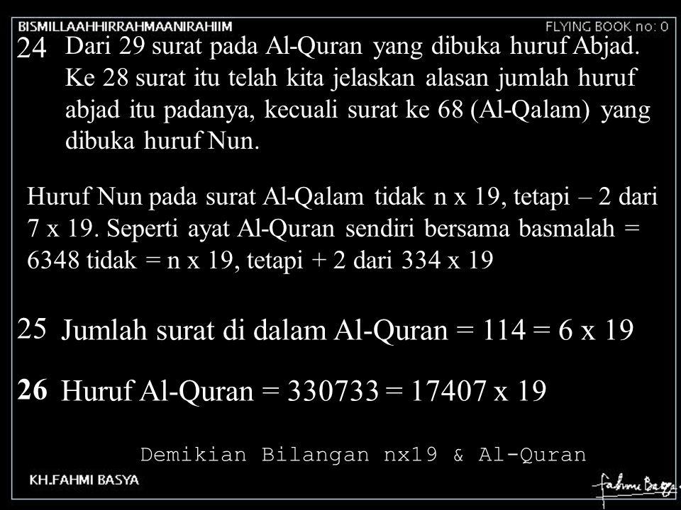 24 Dari 29 surat pada Al-Quran yang dibuka huruf Abjad. Ke 28 surat itu telah kita jelaskan alasan jumlah huruf abjad itu padanya, kecuali surat ke 68